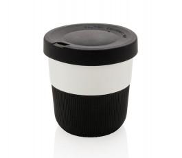 taza ecologica de viaje de PLA y silicona color negro para personalizar con logo