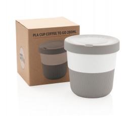 caja con taza ecologica de viaje de PLA y silicona color gris para personalizar con logo
