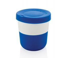 taza ecologica de viaje de PLA y silicona color azul para personalizar con logo