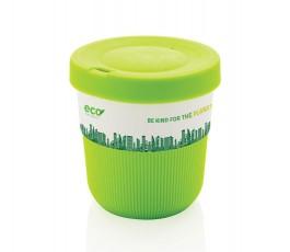 taza ecologica de viaje de PLA y silicona color verde personalizada con logo