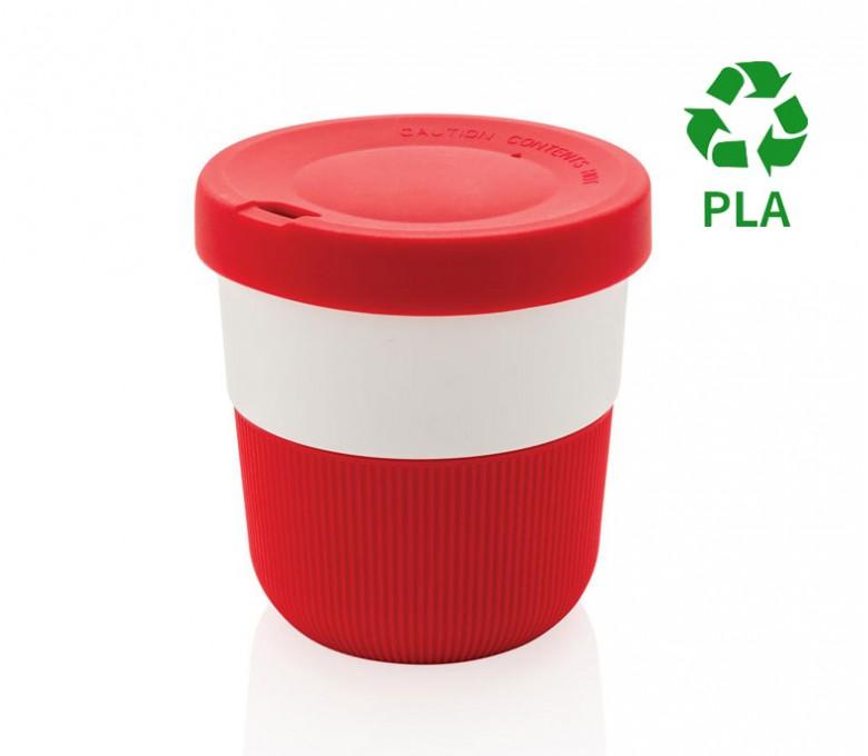 taza ecologica de viaje de PLA y silicona color rojo para personalizar con logo con sello PLA