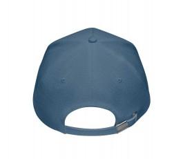 vista trasera de gorra publicitaria de cañamo color azul