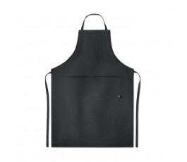 delantal de cocina de canamo de color negro en fondo blanco