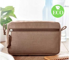 neceser de canamo color marron con sello ECO