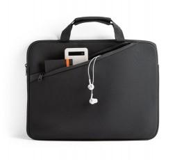 funda maletin para portatil de 14ª con bolsillo frontal y elementos colocados en el bolsillo