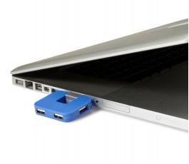 hub usb compacto de 4 puertos modelo B7735 color azul conectado a un ordenador