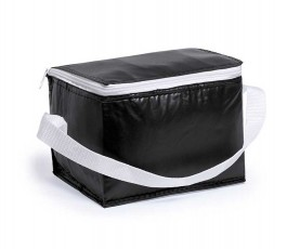 Nevera para 6 latas modelo A3072 color negro y cinta blanca