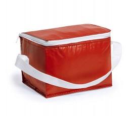 Nevera para 6 latas modelo A3072 color rojo y cinta blanca