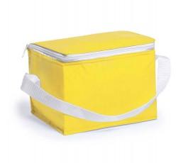 Nevera para 6 latas modelo A3072 color amarillo y cinta blanca