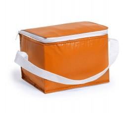 Nevera para 6 latas modelo A3072 color naranja y cinta blanca