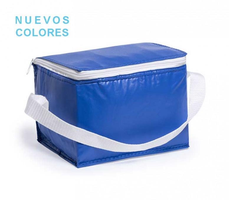Nevera para 6 latas modelo A3072 color azul y cinta blanca con sello NUEVOS COLORES
