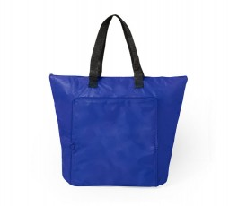 bolsa nevera plegable color azul presentada desplegada
