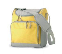 bolsa mochila modelo D3101 color amarillo con detalles en gris