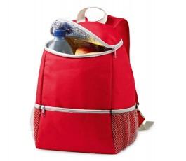 mochila nevera modelo ZS98408 de color rojo abierta con alimentos en el interior