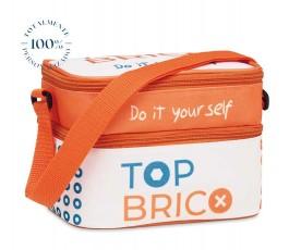 bolsa nevera pequeña totalmente personalizada en colores blanco y naranja con logos