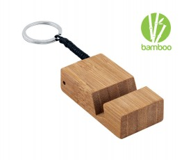 llavero de bambu con soporte para movil con sello bamboo