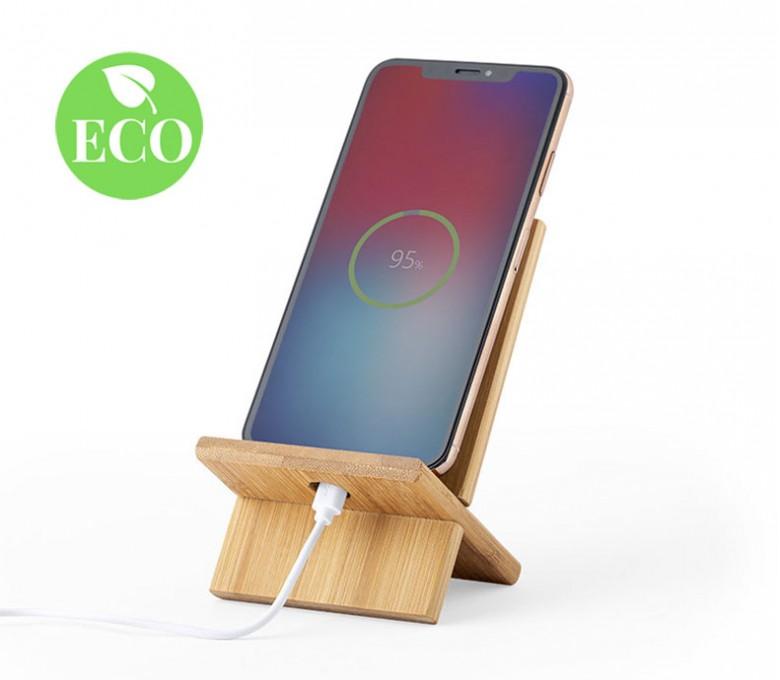 soporte de madera de bambu para movil con sello ECO