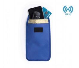 funda con seguridad RFID modelo A6007 abierta con movil y tarjeta en el interior