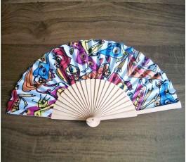 abanico publicitario con varilla de madera y tela impresa por sublimacion