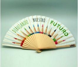 abanico publicitario con varilla de madera personalizado a todo color