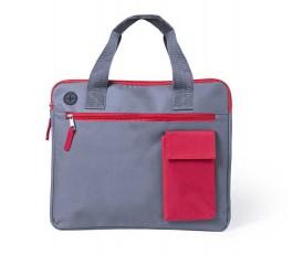maletin portadocumentos modelo A5581 color gris con detalles en rojo