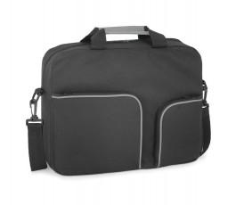 maletin para congresos de color negro con ribetes de color gris