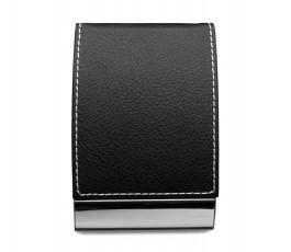 portatarjetas de polipiel color negro con detalle metalico cerrado