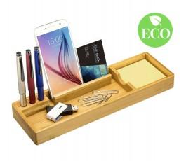 organizador de escritorio de madera de bambu con sello ECO y accesorios