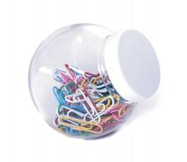 tarro porta clips transparente con tapa blanca y clips de colores en el interior