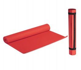 esterilla de color rojo extendida y otra esterilla al lado enrollada