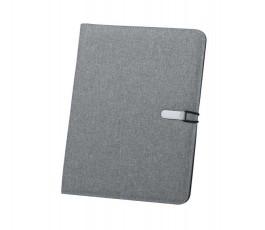 carpeta de microfibra con cierre metalico color gris