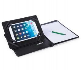 carpeta abierta con tablet en soporte y bloc de notas