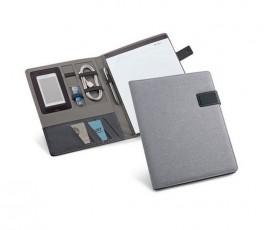 carpeta publicitaria A4 de color gris abierta con bloc y bolsillos interiores