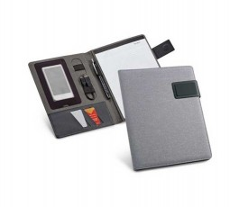 carpeta publicitaria A5 de color gris abierta con bloc, telefono y boligrafo