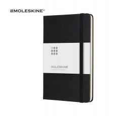 libreta A6 de la marca Moleskine de color negro con franja de papel