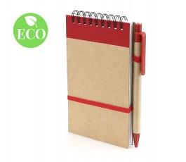 libreta ecologica con espiral en vertical con boligrafo y detalles en rojo y sello ECO