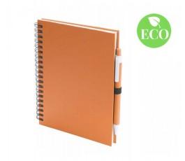 libreta ecologica con cubiertas y boligrafo de carton reciclado formato A5 color naranja con sello ECO