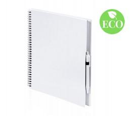 libreta de carton reciclado A4 con boligrafo, de color blanco con sello ECO