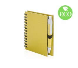 libreta pequeña con boligrafo carton reciclado color amarillo con sello ECO