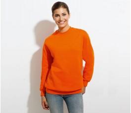 mujer con sudadera unisex cuello redondo modelo L1178 color naranja