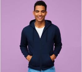 hombre con sudadera publicitaria con capucha y cremallera modelo L1714 color azul marino