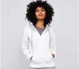 mujer con sudadera para personalizar contrastada color blanco