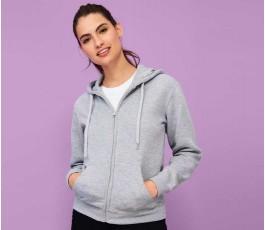 mujer con sudadera para personalizar con cremallera modelo L47900 color gris mezcla