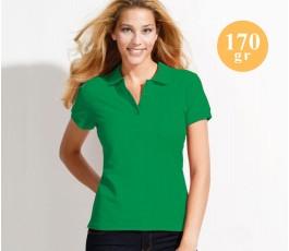 mujer con polo publicitario de algodon 170 gramos color verde