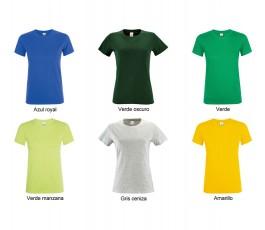 surtido de colores  verdes, azules y gris de camiseta de mujer SOLS Regent