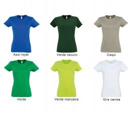 surtido de colores verdes azul y gris de camiseta SOLS mujer 190 gr