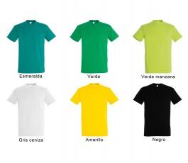 surtido de 6 colores verdes, amarillo y negro de camiseta SOLS hombre 190 gr