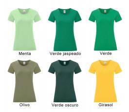 surtido de colores verdes de camiseta mujer iconic
