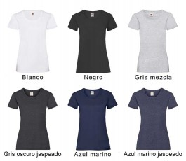 surtido de colores basicos de camiseta mujer fruit of the loom 165 gr