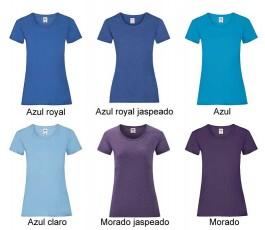 surtido de colores azules de camiseta mujer fruit of the loom 165 gr